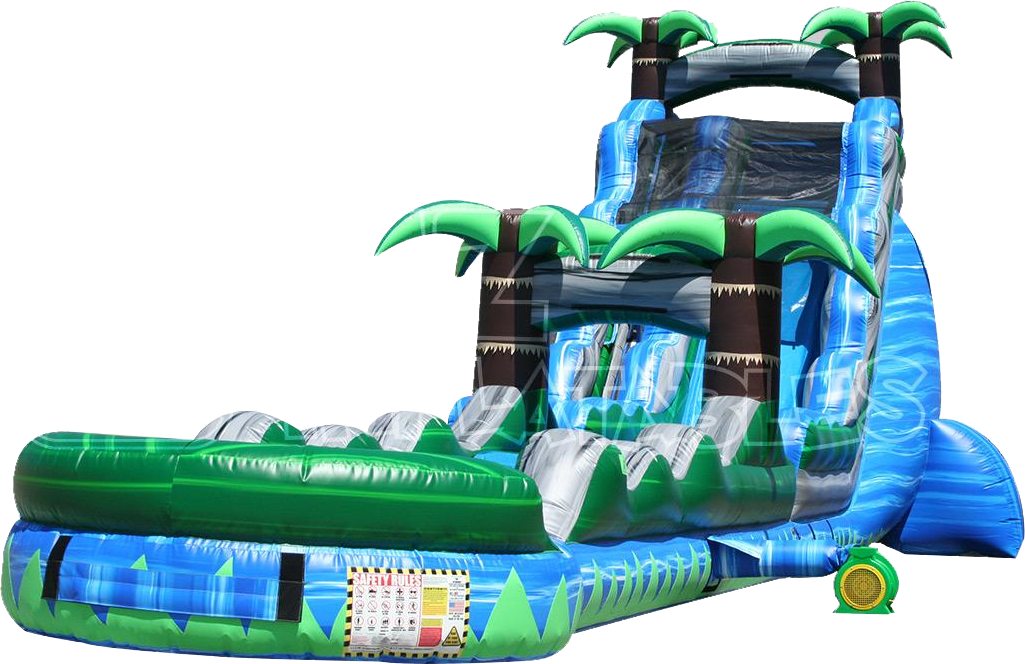 The Blue Crush Inflatable Water Slide and Palms Slip-N-Dip Water Slide