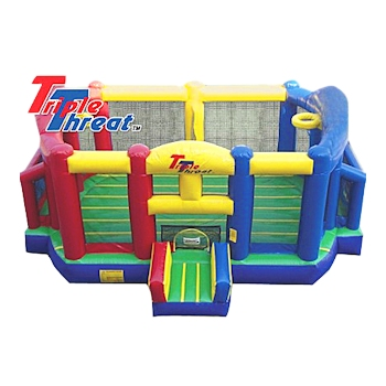 The Triple Threat Moonwalk Bounce House Inflatable